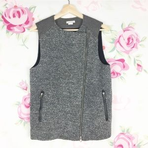 Club Monaco Gray Moto Zip Up Vest XS